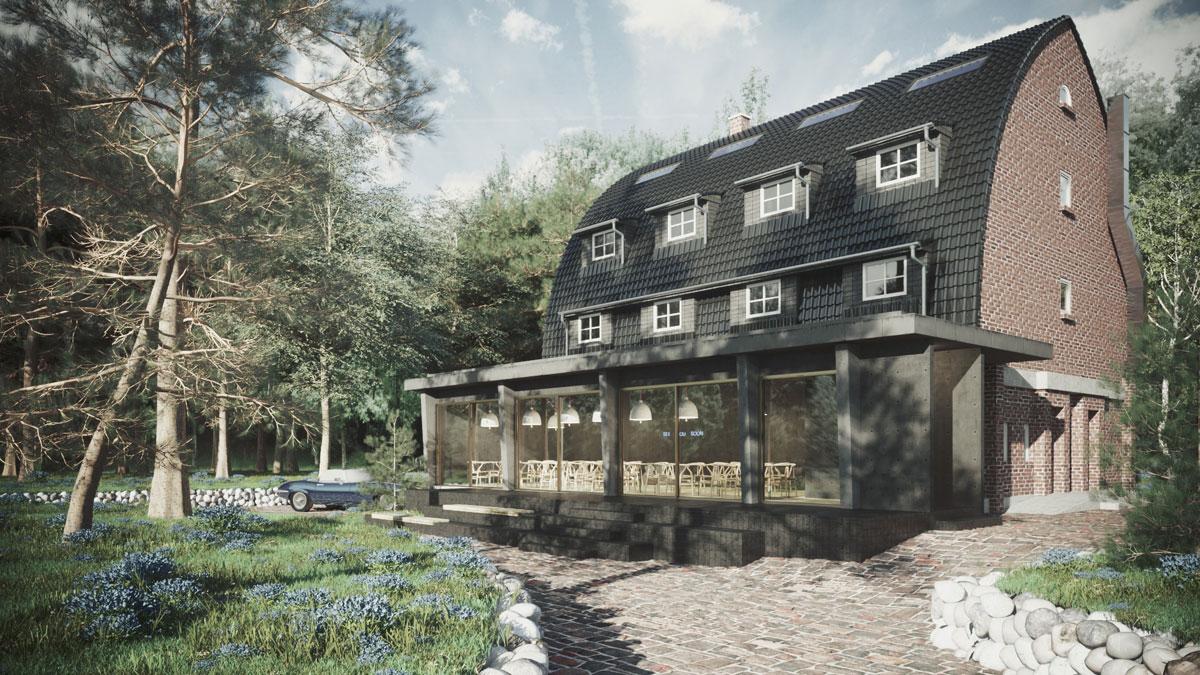 3d architektur visualisierungen Haus Schragen