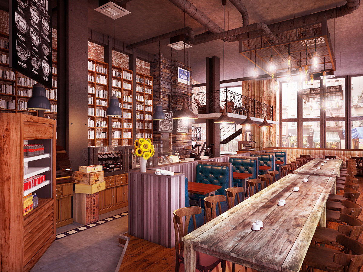 architekturvisualisierung Coffee place