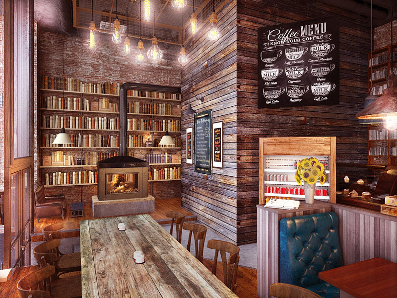 Cafe in Wooden and Brick Style